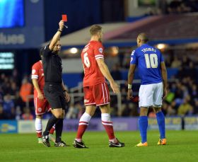 Wes-Thomas-sent-off-by-referee-Kevin-Friend-after-a-clash-with-Sean-Morrison